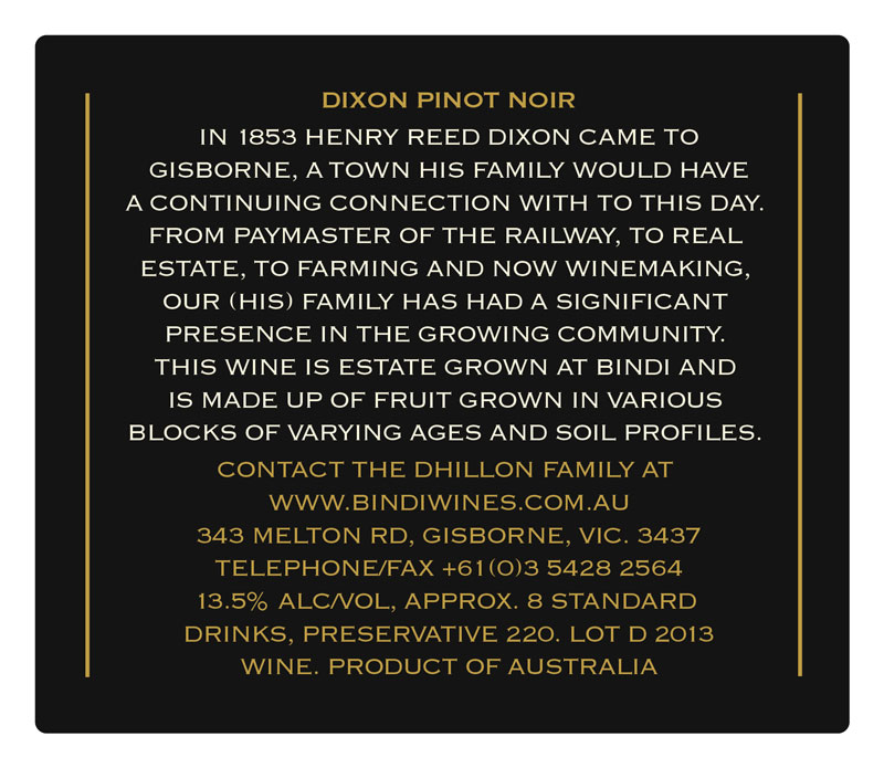 Bindi Dixon Pinot Noir